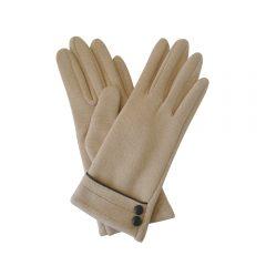 Button & stitching detail beige gloves