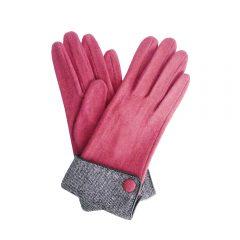 Single button, tweed cuff pink gloves