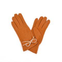 Contrast edge bow detail orange gloves