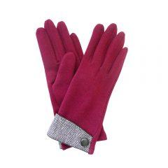 Single button, tweed cuff burgundy gloves